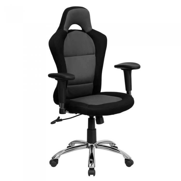 Flash Furniture BT-9015-GYBK-GG Race Car Inspired Bucket Seat Office Chair in Gray and Black Mesh