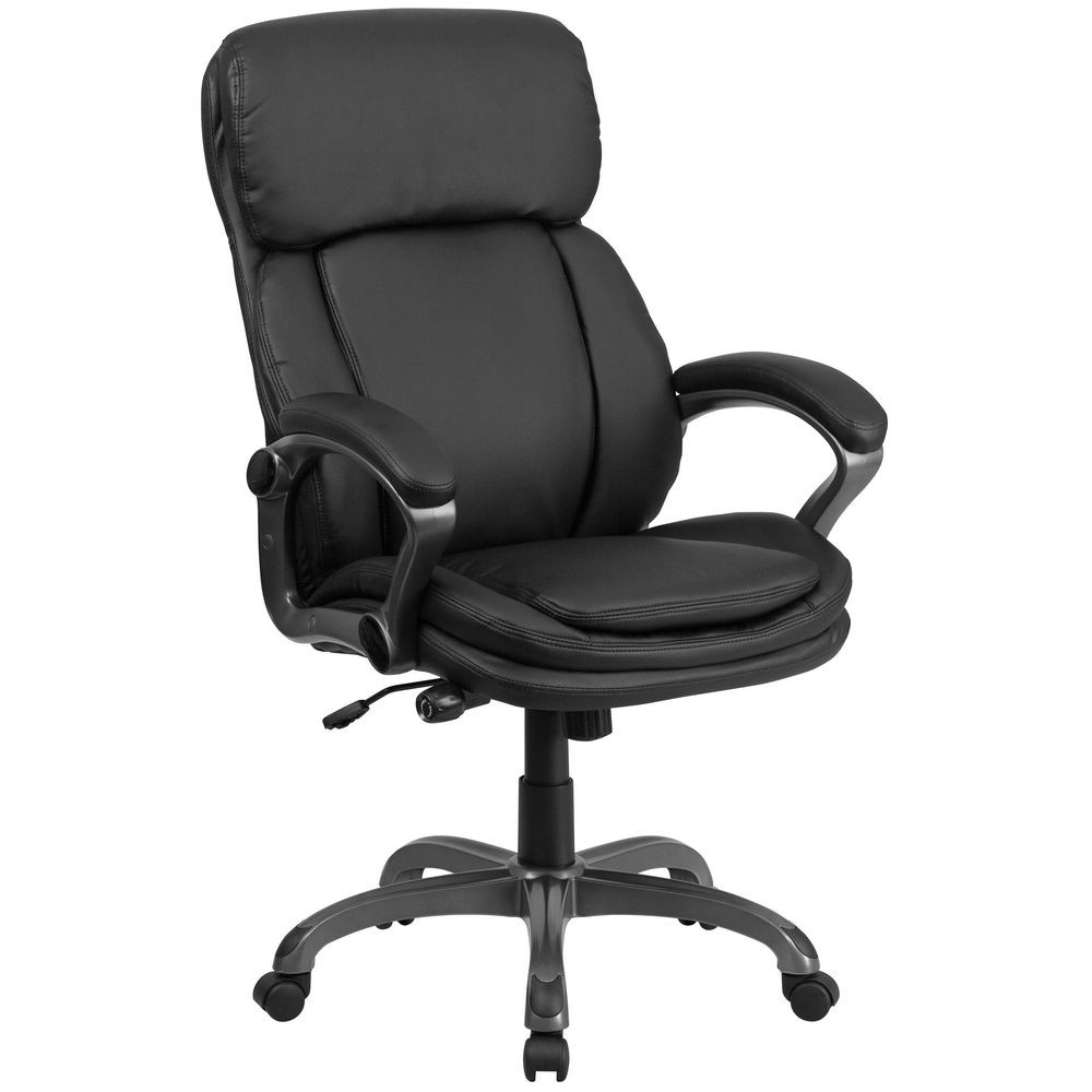Flash Furniture BT-90272H High Back Black Leather Executive Swivel Office Chair with Lumbar Support Knob