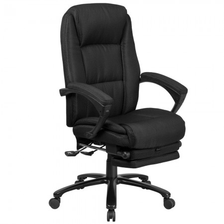 Flash Furniture BT-90288H-BK-GG High Back Black Fabric Executive Reclining Swivel Office Chair with Comfort Coil Seat Springs and Arms