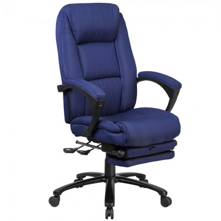 Flash Furniture BT-90288H-NY-GG High Back Navy Fabric Executive Reclining Swivel Office Chair with Comfort Coil Seat Springs and Arms