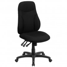 Flash Furniture BT-90297H High Back Black Fabric Multi-Functional Ergonomic Swivel Task Chair