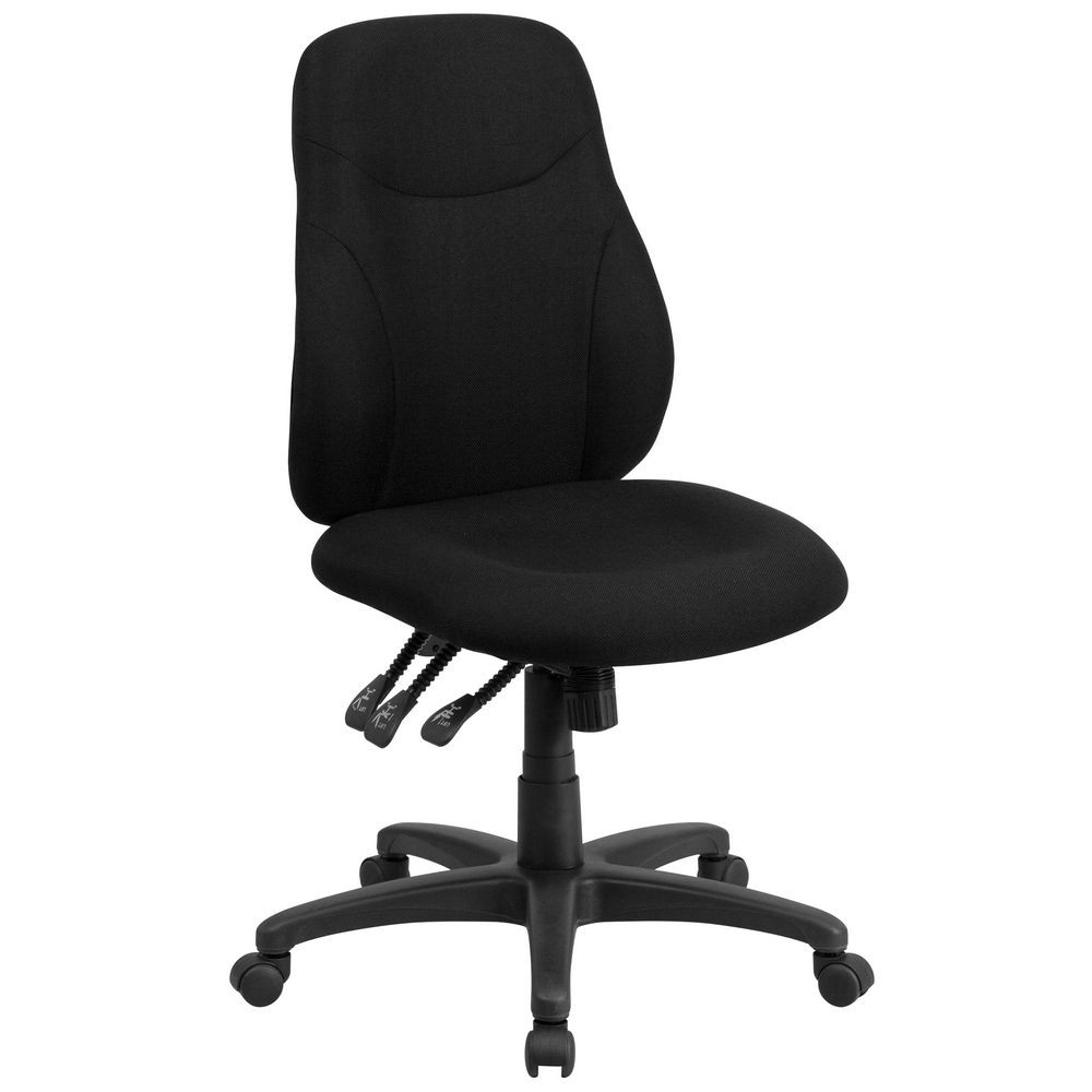 Flash Furniture BT-90297M Mid-Back Black Fabric Multi-Functional Ergonomic Chair