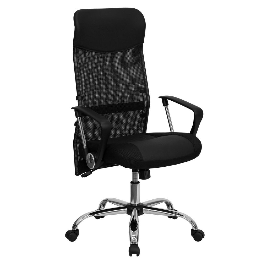 Flash Furniture BT-905-GG High Back Black Split Leather Chair with Mesh Back