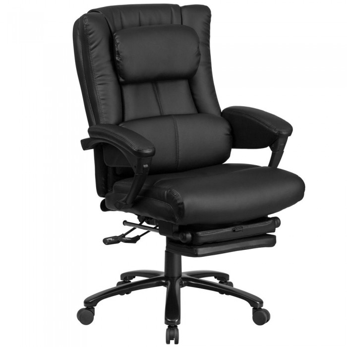Flash Furniture BT-90527H-GG High Back Black Leather Executive Reclining  Ergonomic Office Chair with Lumbar Support, Coil Seat Springs and Arms