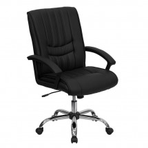 Flash Furniture BT-9076-BK-GG Mid-Back Black Leather Manager's Chair