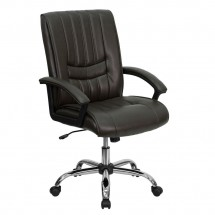 Flash Furniture BT-9076-BRN-GG Mid-Back Espresso Brown Leather Manager's Chair