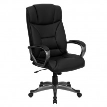 Flash Furniture BT-9177-BK-GG High Back Black Leather Executive Office Chair