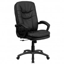 Flash Furniture BT-9585P-GG Mid-Back Massaging Black Leather Executive Office Chair