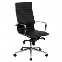 Flash Furniture BT-9826H-BK-GG High Back Black Ribbed Upholstered Leather Executive Office Chair