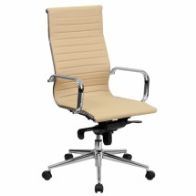 Flash Furniture BT-9826H-TAN-GG High Back Tan Ribbed Upholstered Leather Executive Office Chair