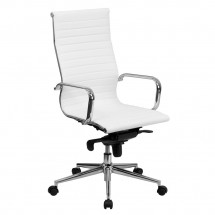 Flash Furniture BT-9826H-WH-GG High Back White Ribbed Upholstered Leather Executive Office Chair
