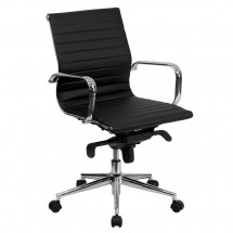 Flash Furniture BT-9826M-BK-GG Mid-Back Black Ribbed Upholstered Leather Conference Chair