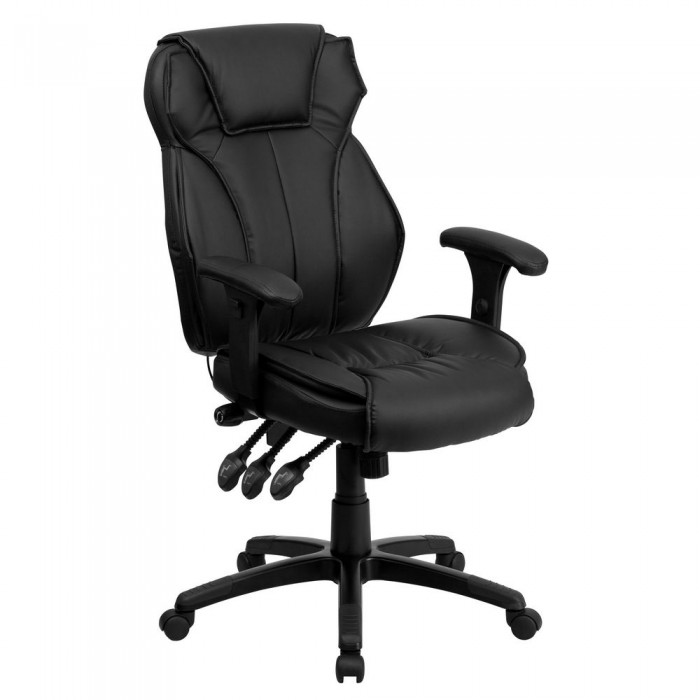 Flash Furniture Bt 9835h Gg High Back Black Leather Executive Office Chair With Triple Paddle Control
