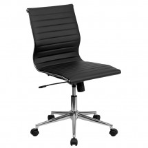 Flash Furniture BT-9836M-2-BK-GG Mid-Back Black Armless Ribbed Upholstered Leather Conference Chair