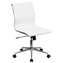 Flash Furniture BT-9836M-2-WH-GG  Mid-Back White Armless Ribbed Upholstered Leather Conference Chair
