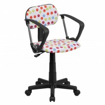 Flash Furniture BT-D-MUL-A-GG Multi-Colored Dot Printed Computer Chair with Arms
