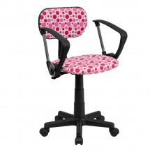 Flash Furniture BT-D-PK-A-GG Pink Dot Printed Computer Chair with Arms