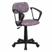 Flash Furniture BT-FL-A-GG Multi-Colored Pattern Printed Computer Chair with Arms