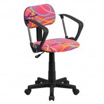Flash Furniture BT-OLY-A-GG Multi-Colored Swirl Printed Pink Computer Chair with Arms