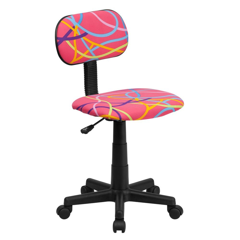 Flash Furniture BT-OLY-GG Multi-Colored Swirl Printed Pink Computer Chair