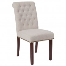 Flash Furniture BT-P-BGE-FAB-GG HERCULES Series Beige Fabric Parsons Chair with Rolled Back, Accent Nail Trim and Walnut Finish