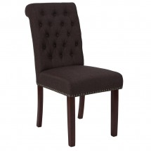 Flash Furniture BT-P-BRN-FAB-GG HERCULES Series Brown Fabric Parsons Chair with Rolled Back, Accent Nail Trim and Walnut Finish