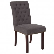 Flash Furniture BT-P-DKGY-FAB-GG HERCULES Series Dark Gray Fabric Parsons Chair with Rolled Back, Accent Nail Trim and Walnut Finish