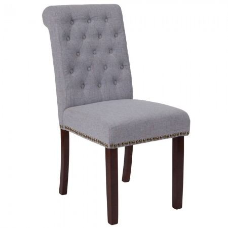 Flash Furniture BT-P-LTGY-FAB-GG HERCULES Series Light Gray Fabric Parsons Chair with Rolled Back, Accent Nail Trim and Walnut Finish