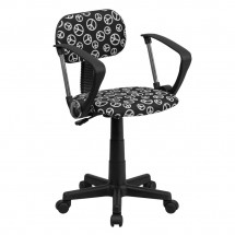 Flash Furniture BT-PEACE-A-GG Peace Sign Printed Computer Chair with Arms
