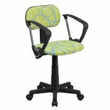 Flash Furniture BT-SWRL-A-GG Blue and White Swirl Printed Green Computer Chair with Arms