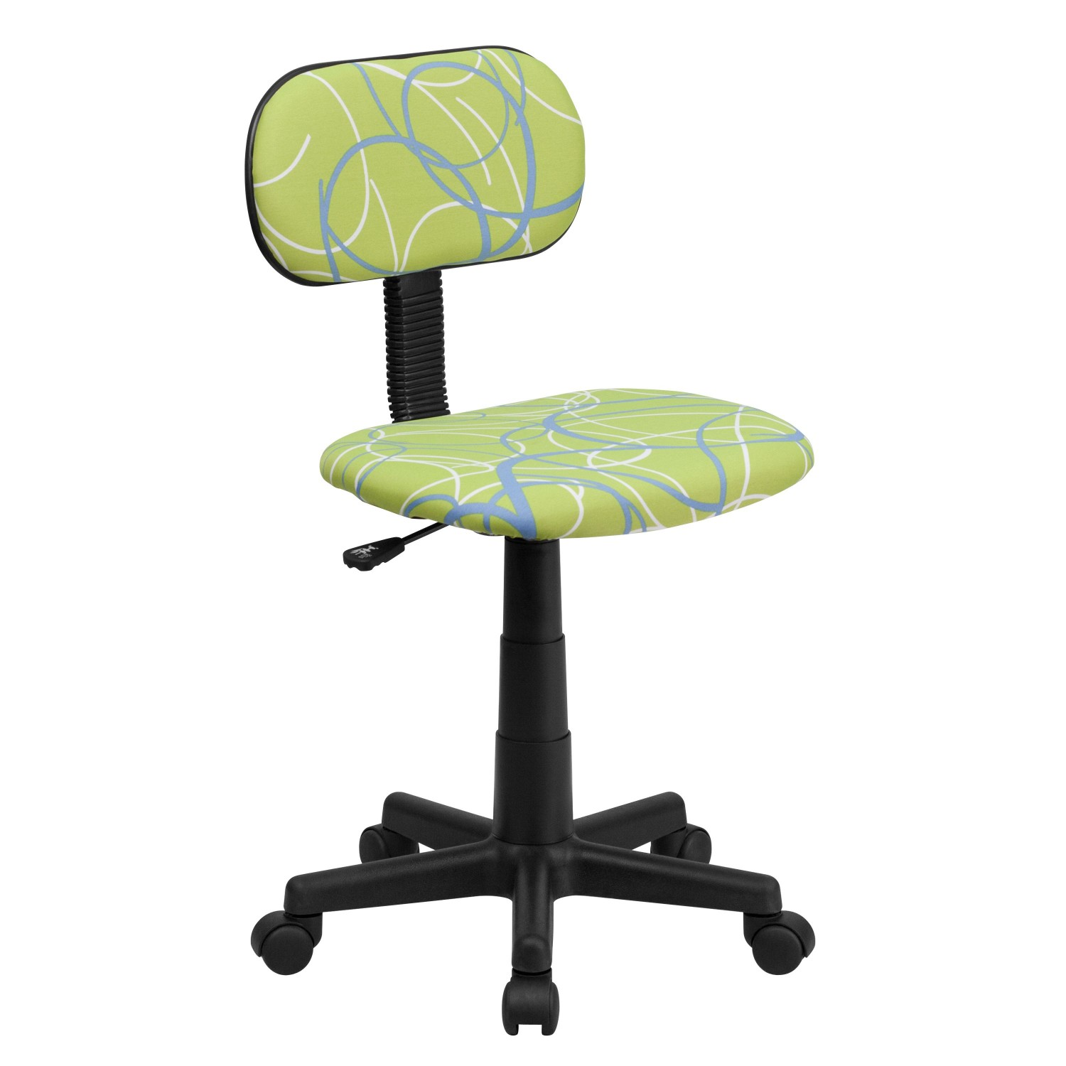 Flash Furniture BT-SWRL-GG Blue and White Swirl Printed Green Computer Chair