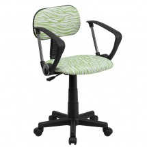 Flash Furniture BT-Z-GN-A-GG Green and White Zebra Print Computer Chair with Arms