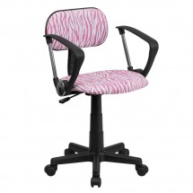 Flash Furniture BT-Z-PK-A-GG Pink and White Zebra Print Computer Chair with Arms