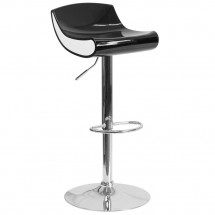 Flash Furniture CH-101010-BK-GG Contemporary Black and White Adjustable Height Plastic Barstool with Chrome Base