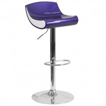Flash Furniture CH-101010-BL-GG Contemporary Blue-Purple and White Adjustable Height Plastic Barstool with Chrome Base