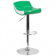 Flash Furniture CH-101010-GN-GG Contemporary Green and White Adjustable Height Plastic Barstool with Chrome Base