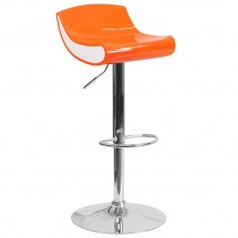Flash Furniture CH-101010-OR-GG Contemporary Orange and White Adjustable Height Plastic Barstool with Chrome Base