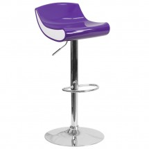 Flash Furniture CH-101010-PUR-GG Contemporary Purple and White Adjustable Height Plastic Barstool with Chrome Base