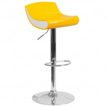 Flash Furniture CH-101010-YL-GG Contemporary Yellow and White Adjustable Height Plastic Barstool with Chrome Base