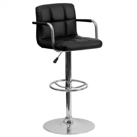 Flash Furniture CH-102029-BK-GG Contemporary Black Quilted Vinyl Adjustable Height Bar Stool with Arms