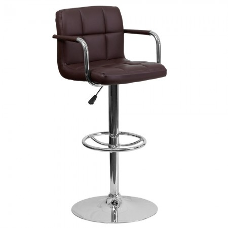 Flash Furniture CH-102029-BRN-GG Contemporary Brown Quilted Vinyl Adjustable Height Bar Stool with Arms