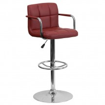 Flash Furniture CH-102029-BURG-GG Contemporary Burgundy Quilted Vinyl Adjustable Height Bar Stool with Arms