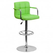 Flash Furniture CH-102029-GRN-GG Contemporary Green Quilted Vinyl Adjustable Height Bar Stool with Arms