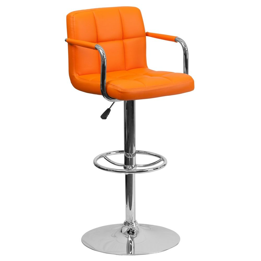 Flash Furniture CH-102029-ORG-GG Contemporary Orange Quilted Vinyl Adjustable Height Bar Stool with Arms