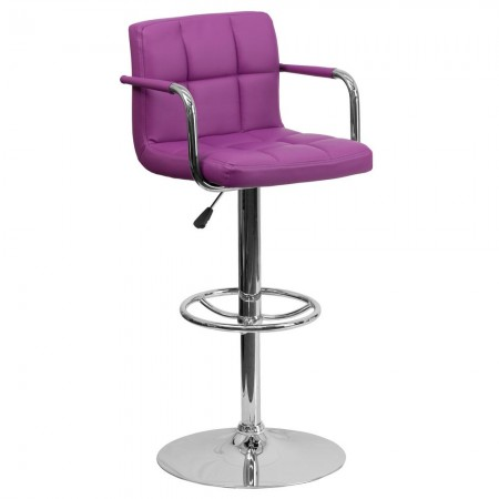 Flash Furniture CH-102029-PUR-GG Contemporary Purple Quilted Vinyl Adjustable Height Bar Stool with Arms