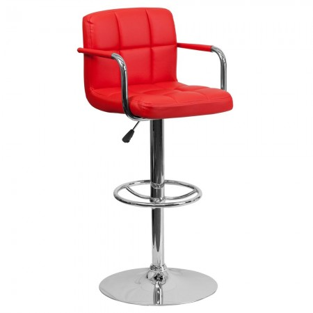 Flash Furniture CH-102029-RED-GG Contemporary Red Quilted Vinyl Adjustable Height Bar Stool with Arms