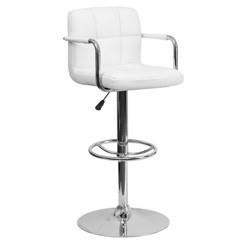 Flash Furniture CH-102029-WH-GG Contemporary White Quilted Vinyl Adjustable Height Bar Stool with Arms