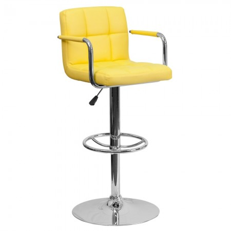 Flash Furniture CH-102029-YEL-GG Contemporary Yellow Quilted Vinyl Adjustable Height Bar Stool with Arms