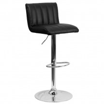 Flash Furniture CH-112010-BK-GG Contemporary Black Vinyl Adjustable Height Bar Stool