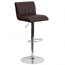 Flash Furniture CH-112010-BRN-GG Contemporary Brown Vinyl Adjustable Height Bar Stool